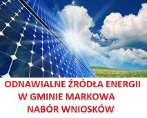 Odnawialne źródła energii wGminie Markowa - nabór wniosków